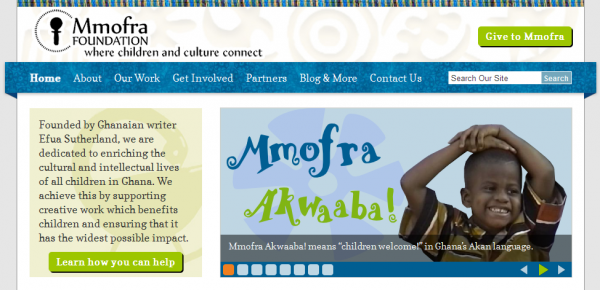 A screenshot of the slideshow on the Mmofra Foundation home page.