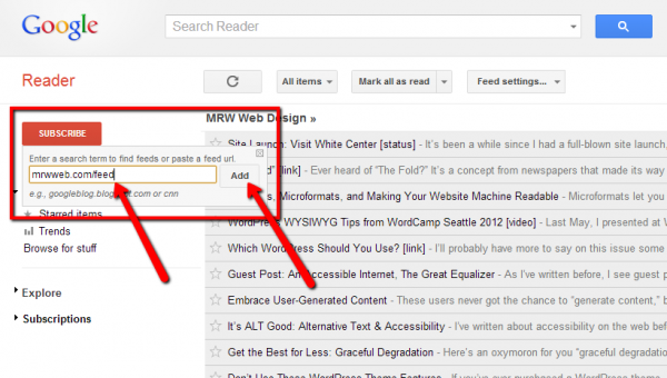 The Google Reader Subscribe Button