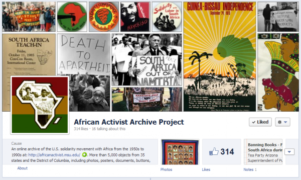 The facebook banner features a collage of photos, posters, documents, and buttons.
