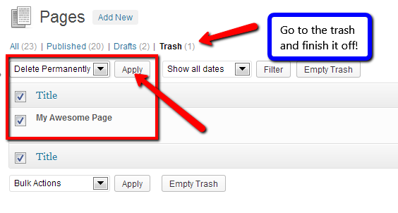 Delete the page from the trash.
