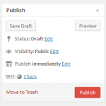 "The default ""Publish"" box in WordPress"