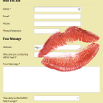 Lipstick kiss on contact form