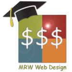 MRW Web Design Logo with Mortar Board and Three Dollar Signs