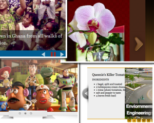 Four examples of website sliders (aka slideshows)