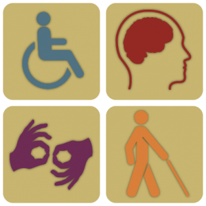 Four icons representing someone in a wheelchair, someone's brain, two signing hands, and a person with a mobility cane.