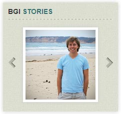 "The Bainbridge Graduate Institute features a ""BGI Stories"" slider with small photos."