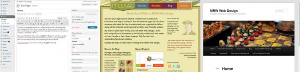 The homepage of MRWWeb.com in the WordPress editor and two themes