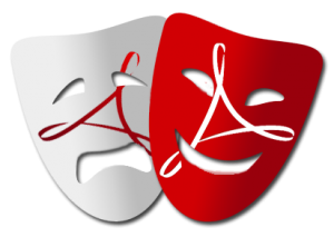 A laughing mask with a white-on-red PDF logo overlaps a crying mask with a red-on-white PDF logo.