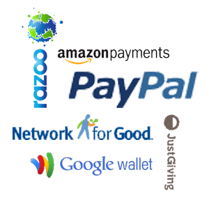 Logos of many popular online donation sites
