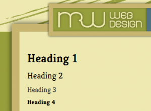 Headings 1 through 4 as displayed on mrwweb.com