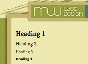 Headings 1 through 4 as displayed on mrwweb.com