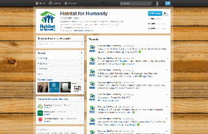Habitat for Humanity's Twitter Profile, featuring an exposed-wood background image