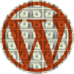 A WordPress Logo Overlaid on Dollar Bills