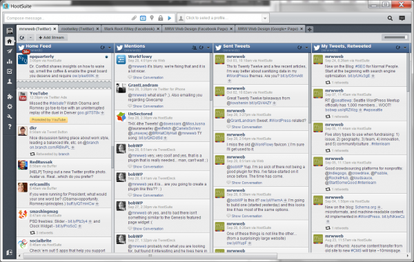 Hootsuite in a Application Window