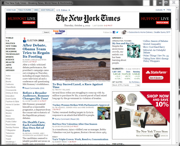 Nytimes.com in a Application Window