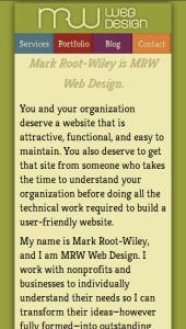 MRWweb.com on a small-size screen.