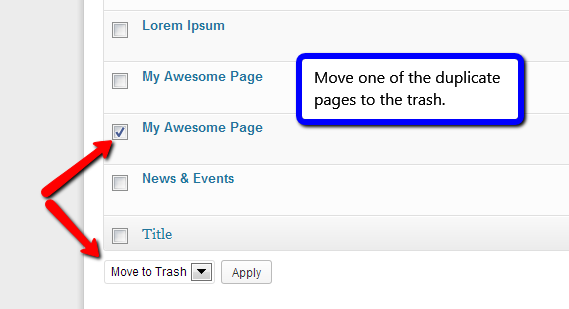 Move one of the duplicate pages to the trash.