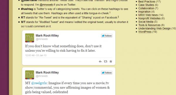 Screenshot displaying embedded tweets on mrwweb.com