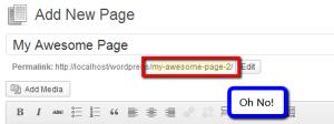 "A WordPress slug ending in ""-2"""