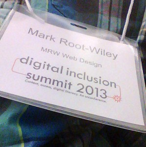 My nametag from the Digital Inclusion Summit.