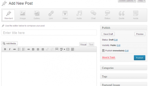 The new WordPress 3.6 Post Formats interface