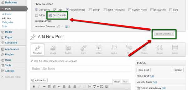 Enable or Disable the Post Formats feature in WordPress 3.6 with Screen Options.