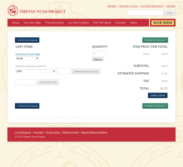 The Tibetan Nuns Project Shopping Cart page