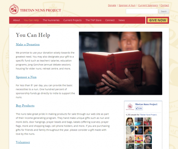 The Featured Image layout on the Tibetan Nuns Project website