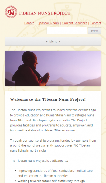 The Tibetan Nuns Project front page on narrow screens
