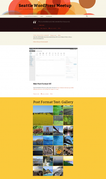 In the new WordPress default theme, different post formats each get a special background color. From top to bottom, you see a Quote, Status, Image, and Gallery.