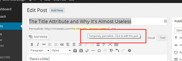 A Tooltip in WordPress Admin.