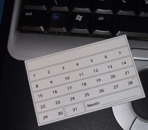 A calendar month notecard