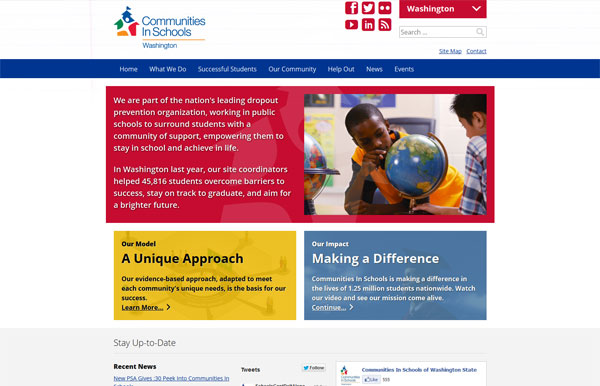 Screenshot of new CISWA.org home page