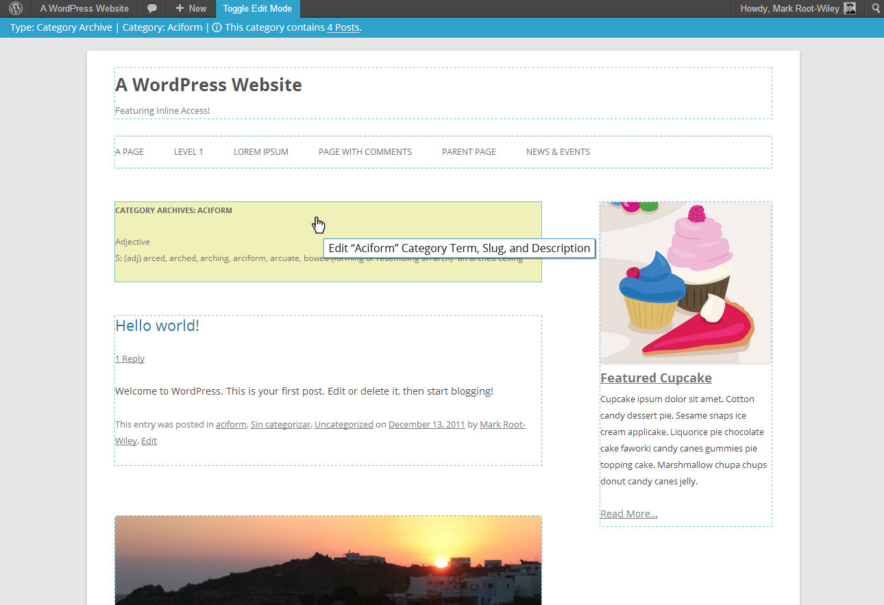 Mockup of proposed Inline Access feature for WordPress