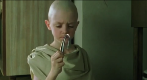 Child bending a spoon with his mind from The Matrix.
