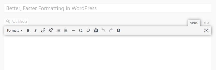 Plugin Banner: Single row WordPress text editor