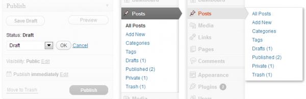 Post Status Menu Items Banner