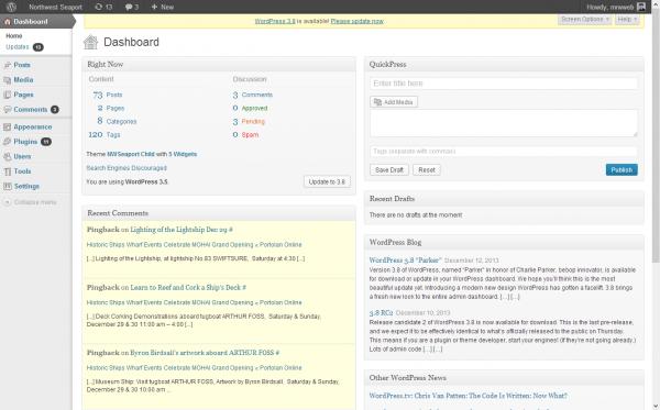 Pre-WordPress 3.8 Dashboard