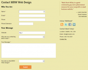 A Contact Form and Contact Information