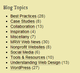 """The list of """"Blog Topics"""" on this site."""