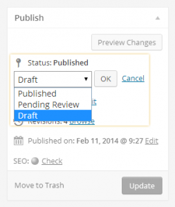 "Changing a Published Post back to ""Draft"" in WordPress"