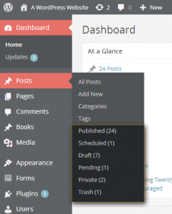 A WordPress admin menu with Post Status Menu Items