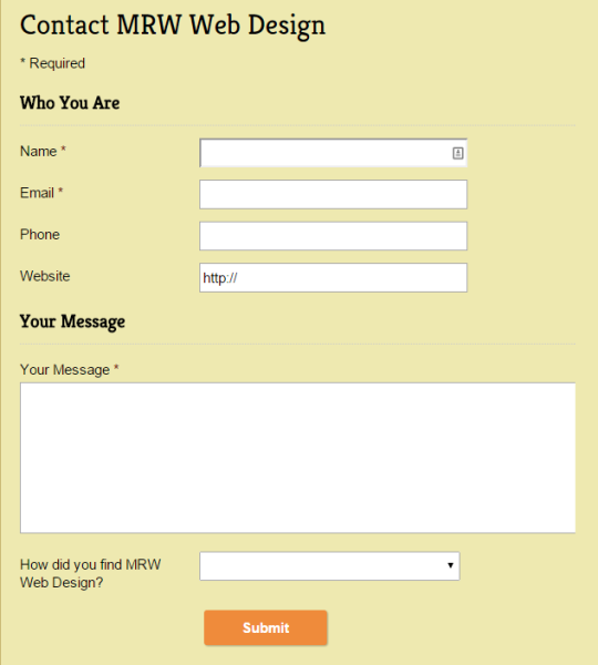 My updated contact form