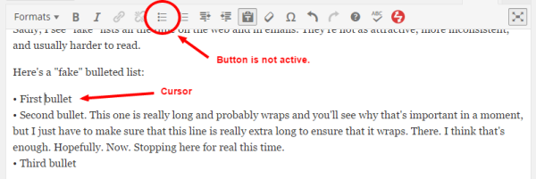 """The cursor appears to be in the list but the """"List"""" button isn't activated. That means this isn't a real HTML list."""