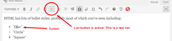 """In WordPress, a """"depressed"""" list button means the selected text is using a list."""