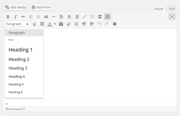 The default WordPress Text Editor
