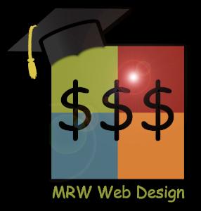 MRW Web Design Logo with Mortar Board and Three Dollar Signs