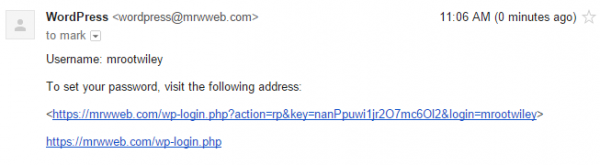 "WordPress New User Account Email (""Click link to set your password"")"