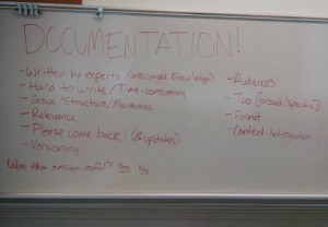Whiteboard notes from documentation brainstorm