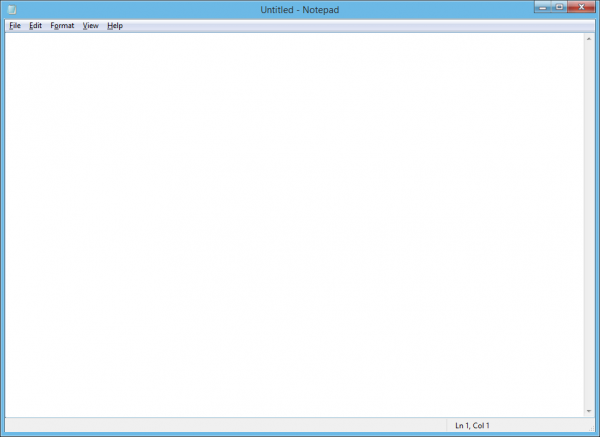 Empty Windows Notepad program